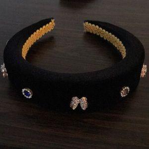 Velvet crystal adorned headband
